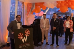 Vincent Georgie addresses the crowd at the WIFF x TIFF party in Toronto on Sept. 12, 2019.